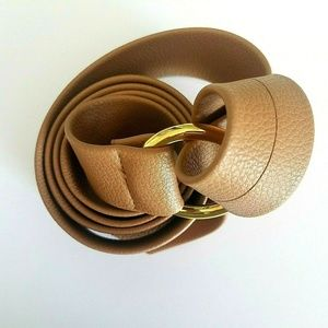 B-Low The Belt Faux Leather Tan Gold Buckle OS